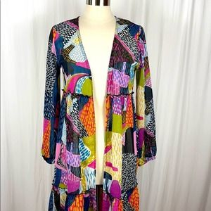 Turquoise Haven Colorful Duster Spotted Pattern